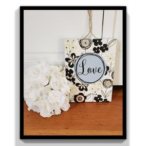 Other - NWOT Floral Love Wood Canvas Decor